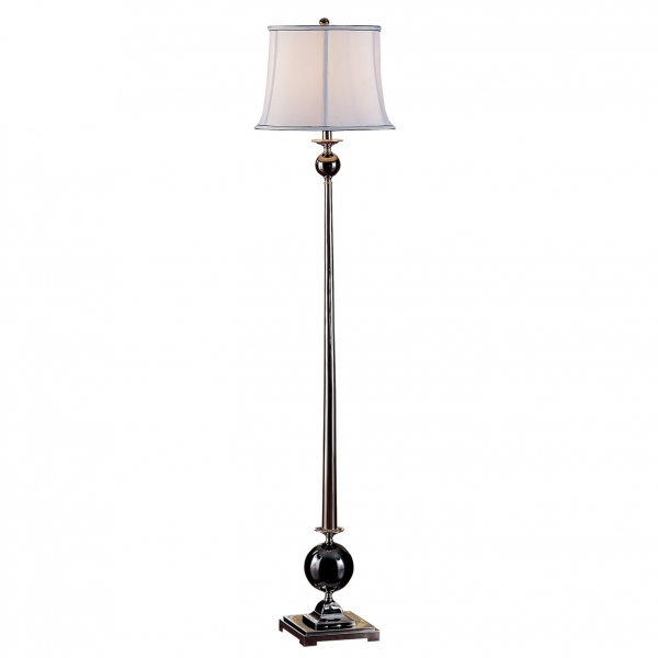 09f522 black chrome ball floor lamp welcome home accents for Mayer floor lamp black chrome