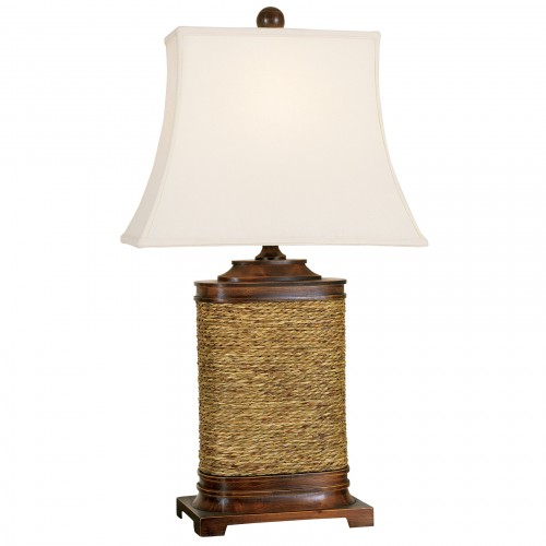 05T708 | Wood And Seagrass Table Lamp