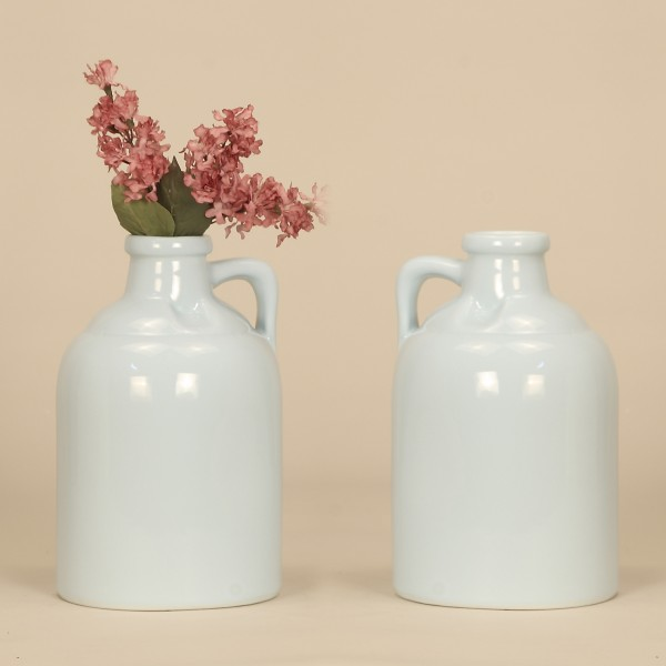 Scg1 Sky 2 Ceramic Jug Vase In Sky Set Of 2 Welcome Home Accents